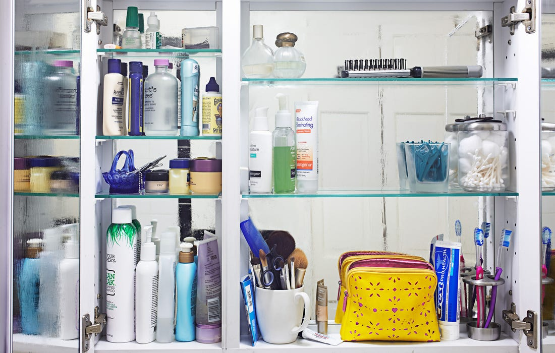 Bathroom cabinet with toxicity risks